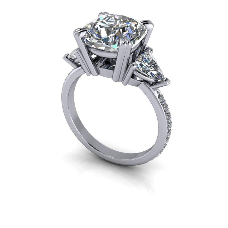 5.45 ctw Forever One Moissanite Engagement Ring Three Stone Ring-Bel Viaggio Designs