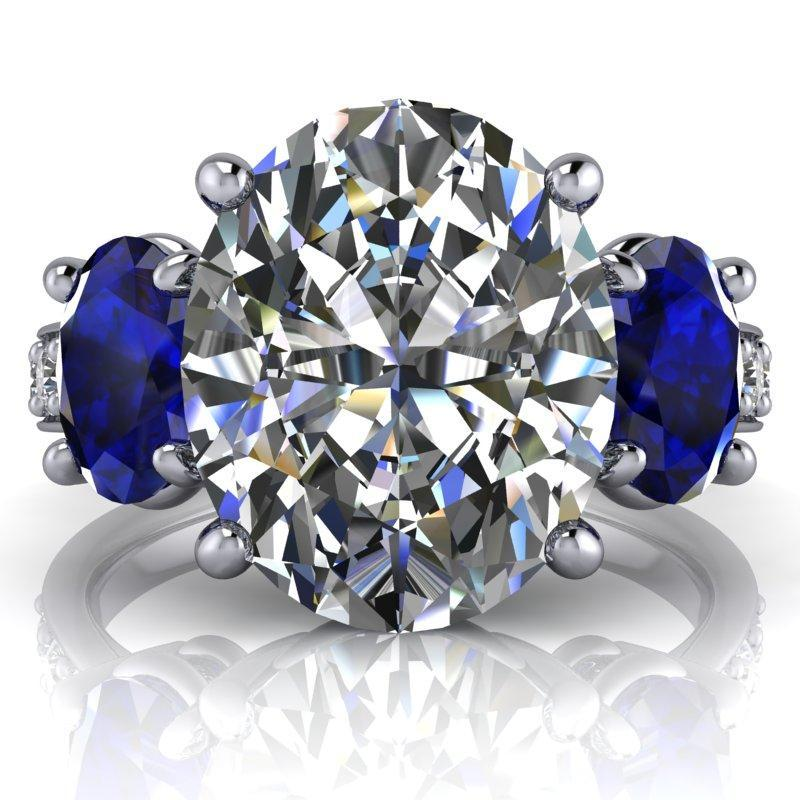 5.60 CTW Oval Colorless Moissanite Three Stone Ring-Bel Viaggio Designs