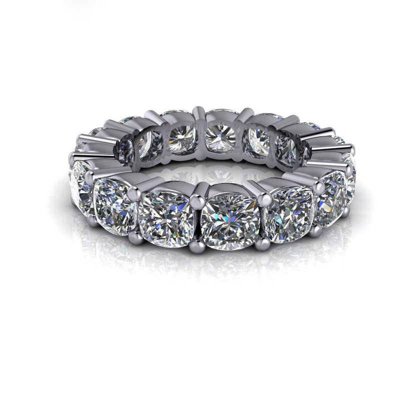 5.61 CTW Cushion Cut Forever One Moissanite Anniversary Ring, Eternity Ring-Bel Viaggio Designs