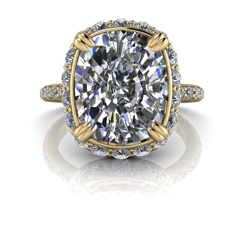 5.84 CTW Elongated Cushion Cut Moissanite Engagement Ring, Stacy K Opulence Collection-Bel Viaggio Designs