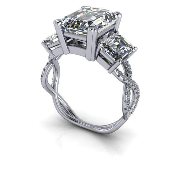 5.86 ctw Emerald Cut Three Stone Moissanite Engagement Ring-Bel Viaggio Designs