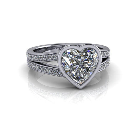 2.05 CTW Hearts Shape Forever One Moissanite Engagement Ring-Bel Viaggio