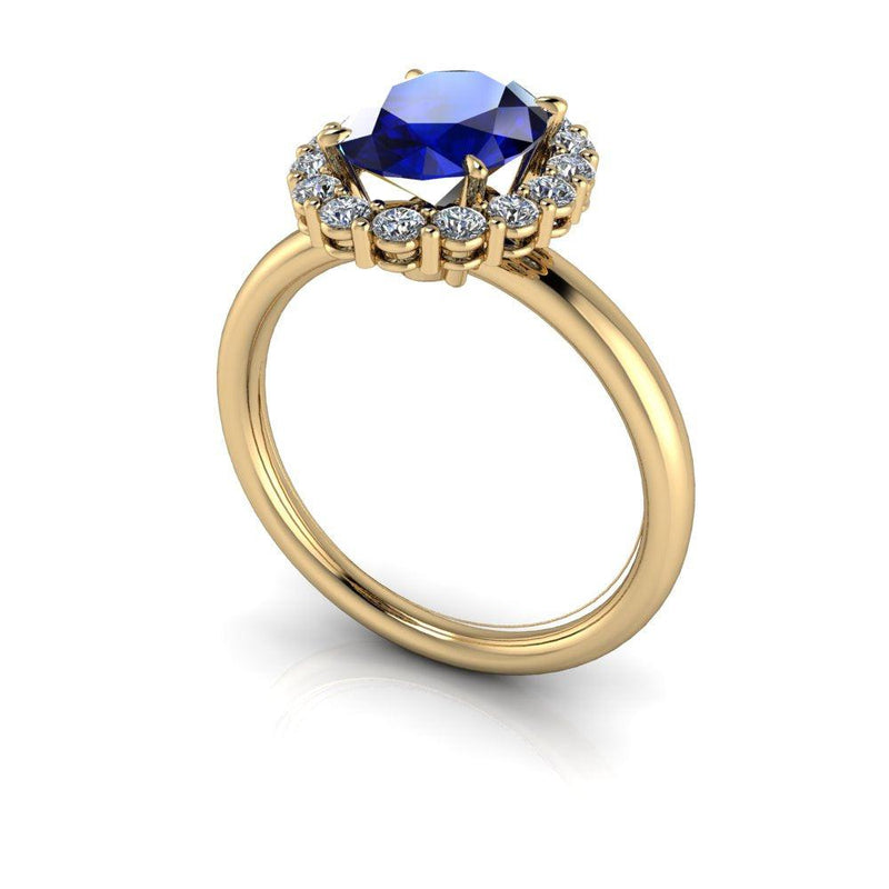 Blue Sapphire & Diamond Engagement Ring 2.95 ct-Bel Viaggio Designs