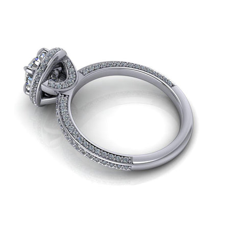 1.51 CTW Round Colorless Charles & Colvard Moissanite & Diamond Pave Engagement Ring-Bel Viaggio Designs
