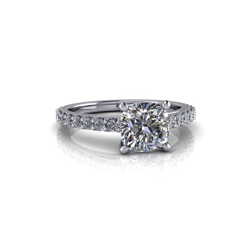 Forever One Moissanite Cathedral Engagement Ring 1.67 ctw-Bel Viaggio Designs