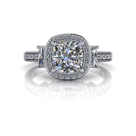 Cushion Cut Moissanite & Diamond Engagement Ring 2.87 ct-Bel Viaggio Designs