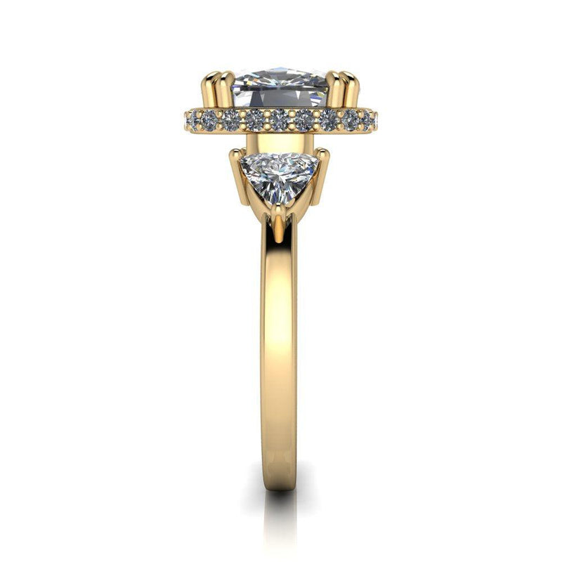 4.38 ctw Modern Cushion Cut & Trillion Three Stone Ring-Bel Viaggio Designs