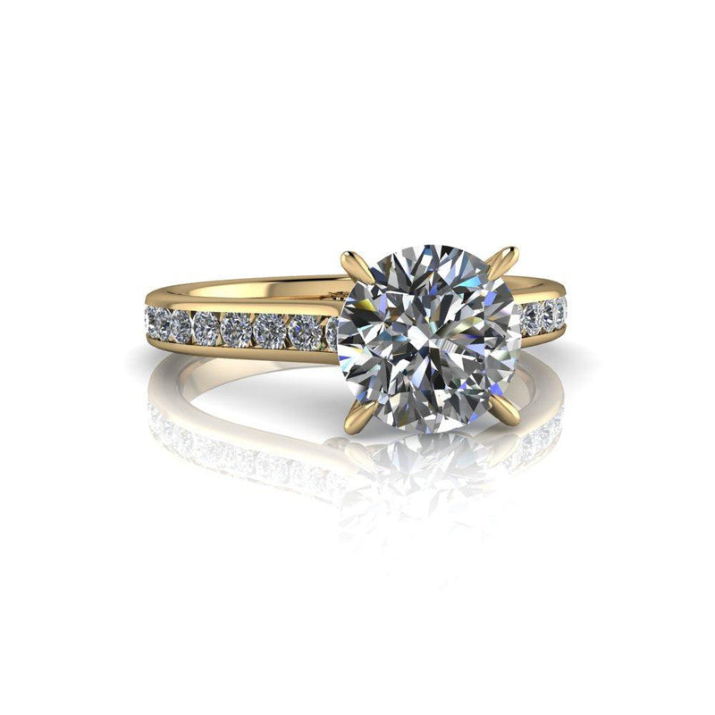 Alexandra, Colorless Moissanite & Lab Grown Diamond Engagement Ring 1.87 ctw-Bel Viaggio Designs