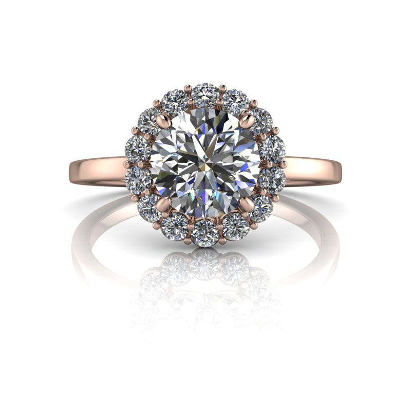 1.28 ctw Round Colorless Moissanite & Diamond Cluster Ring-Bel Viaggio Designs