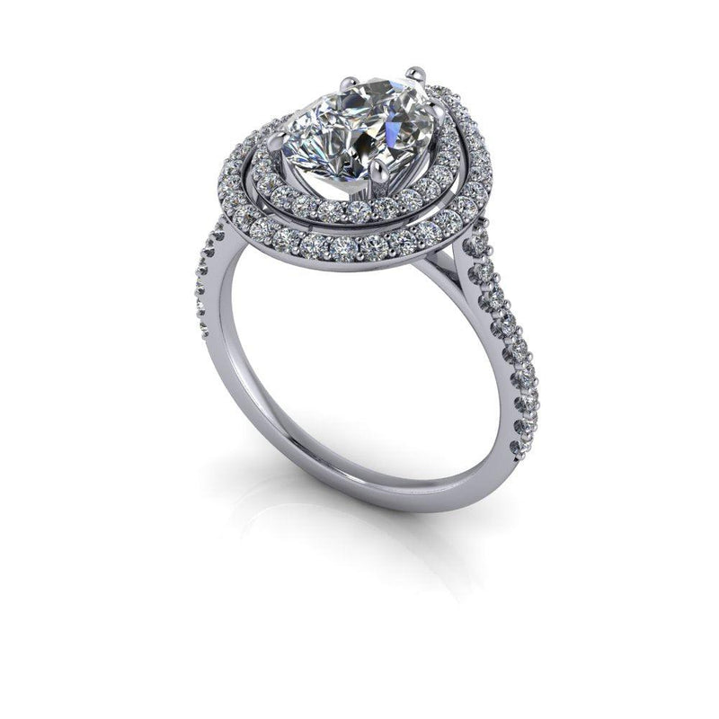 2.74 CTW Pear Cut Moissanite Halo Engagement Ring-Bel Viaggio Designs