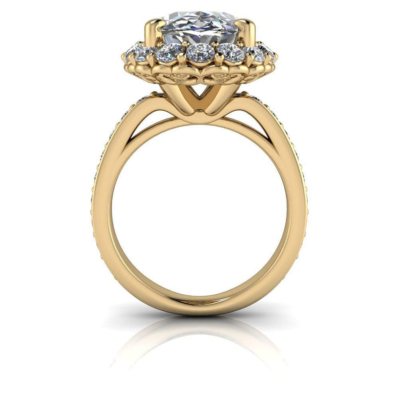 10.35 CTW Elongated Oval Forever One Exotic Cut & Diamond Engagement Ring-Bel Viaggio Designs