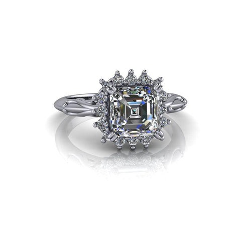1.60 ctw Asscher Cut Forever One Moissanite & Diamond Engagement Ring