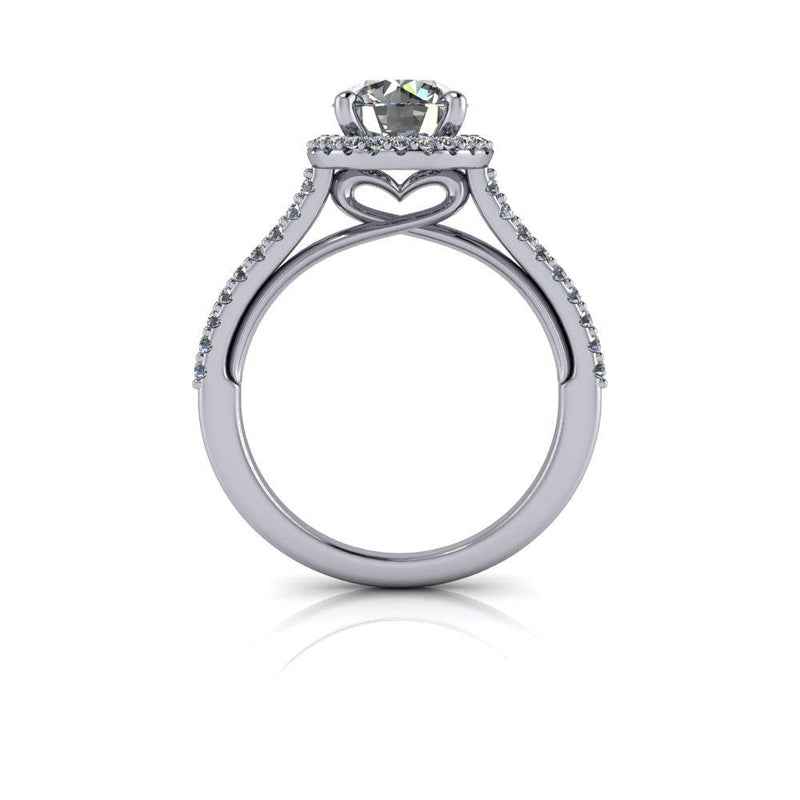 1.76 CTW Moissanite and Lab Grown Diamond Halo Heart Engagement Ring-Bel Viaggio Designs