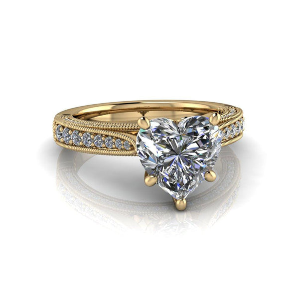 2.15 CTW Heart Shape Forever One Moissanite Engagement Ring-Bel Viaggio