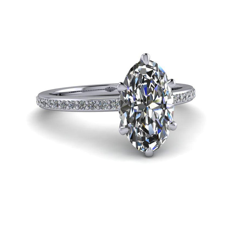 3 ctw Elongated Oval Moissanite & Lab Grown Diamond Bridal Set-Bel Viaggio Designs