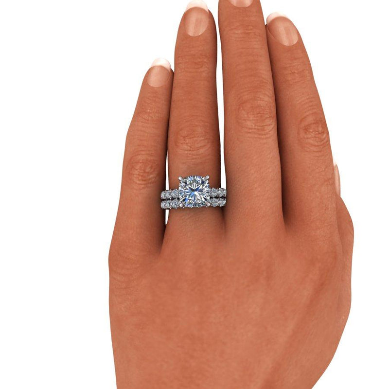 6.05 CTW Moissanite Bridal Set, Cushion Cut Moissanite Engagement Ring, DEF Color-Bel Viaggio Designs