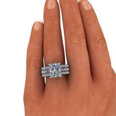 6.10 CTW Radiant Cut Forever One Moissanite Anniversary Ring or Engagement Ring-BVD