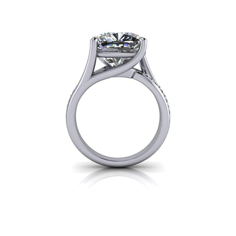6.31 Cushion Cut Forever One Moissanite Engagement Ring, Exotic Cut Forever One-Bel Viaggio Designs