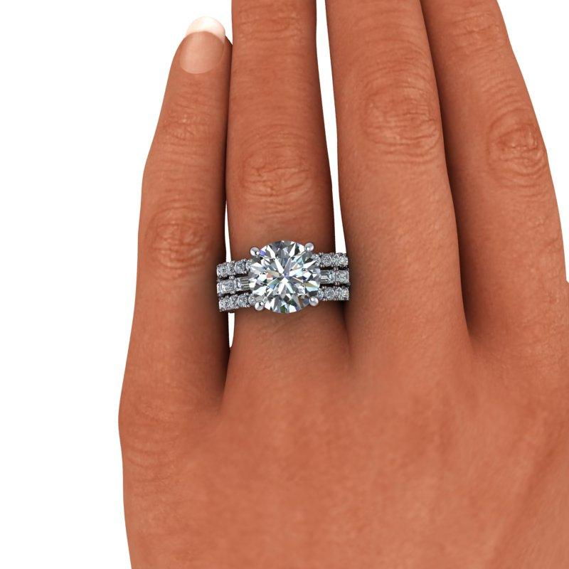 6.40 CTW Round & Emerald Cut Forever One Moissanite Anniversary Ring-Bel Viaggio Designs, LLC