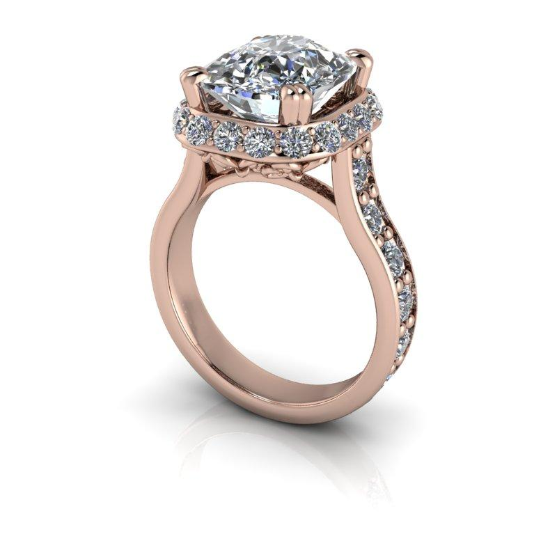 6.52 CTW Elongated Cushion Cut Moissanite Halo Engagement Ring-Bel Viaggio Designs