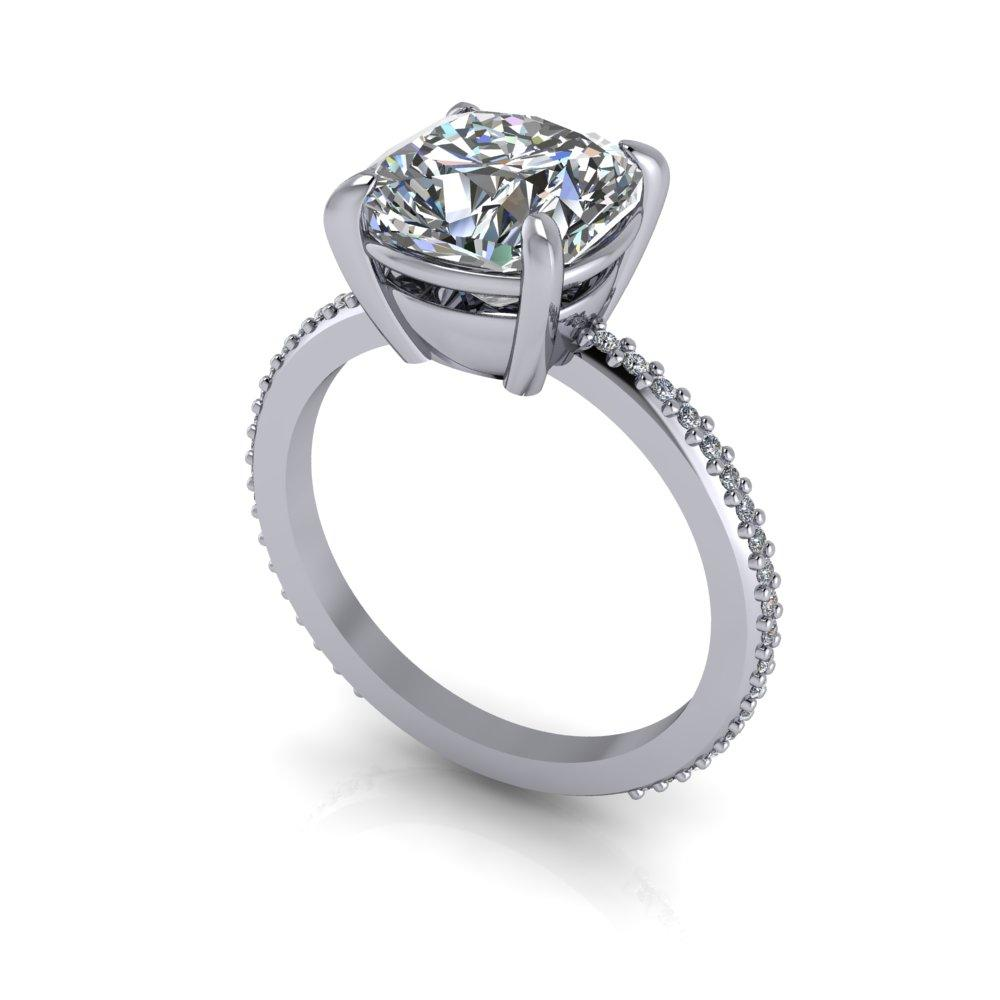 6.58 ctw Cushion Forever One Moissanite Engagement Ring/Bridal Set-Bel Viaggio Designs