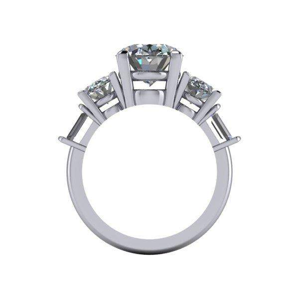 6.62 CTW 5-Stone Oval and Colorless Moissanite Baguette Engagement Ring-Bel Viaggio Designs