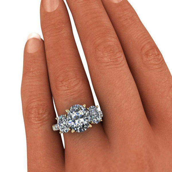 6.62 CTW 5-Stone Oval and Colorless Moissanite Baguette Engagement Ring-BVD