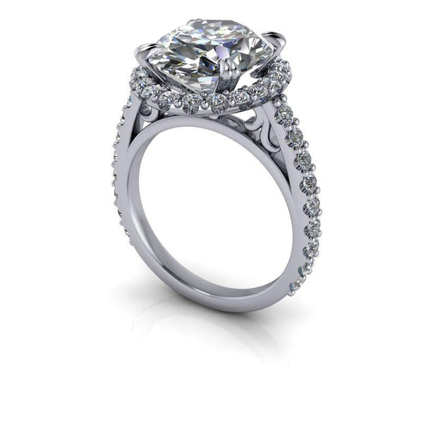 6.63 CTW Oval Shape Forever One Moissanite Halo Ring-Bel Viaggio Designs