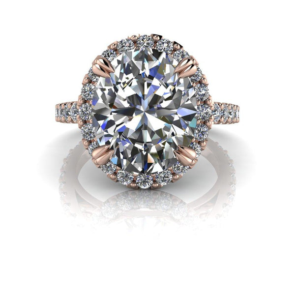 6.63 CTW Oval Shape Colorless Moissanite and Diamond Halo Engagement Ring-Bel Viaggio Designs