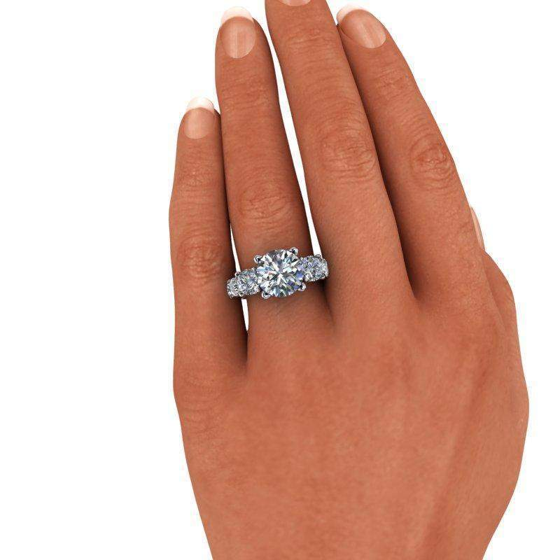 6.64 CTW Forever One Moissanite Engagement Ring Graduated Partial Eternity-Forever One-Bel Viaggio Designs-Bel Viaggio®