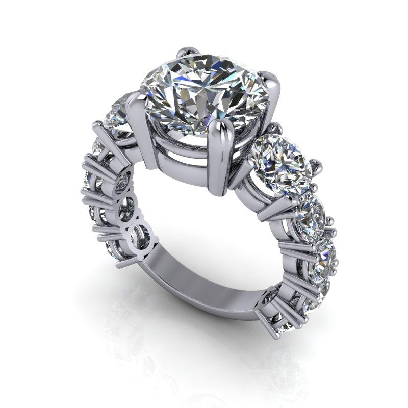 6.64 CTW Graduated Round Stone Partial Eternity Engagement Ring-BVD