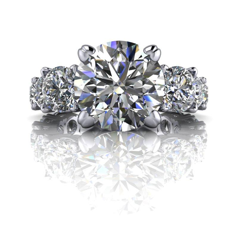 6.64 CTW Graduated Round Stone Partial Eternity Engagement Ring-Bel Viaggio Designs, LLC