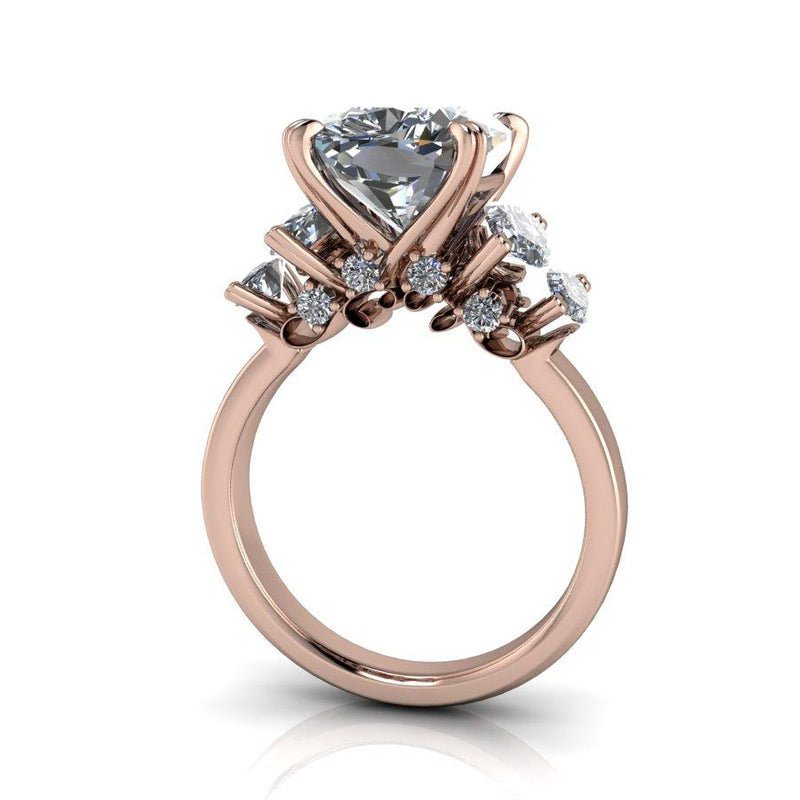 6.65 CTW Elongated Cushion and Marquise Moissanite Ring, Stacy K Opulence-Bel Viaggio Designs