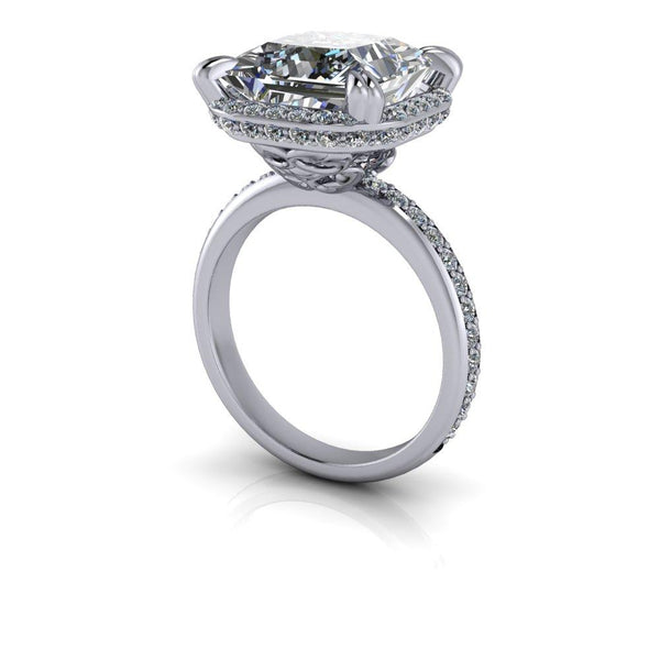 6.89 CTW Colorless Moissanite Princess Cut Engagement Ring, Stacy K Opulence Collection-Bel Viaggio Designs