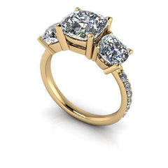6.92 CTW Cushion Cut Moissanite Three Stone Ring Bridal Set-BVD