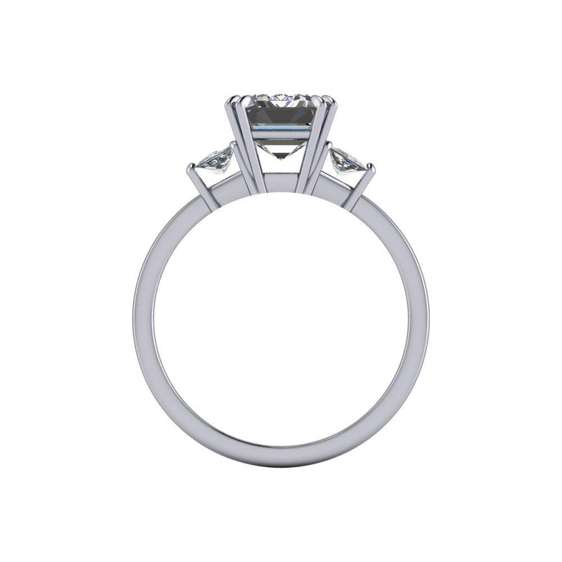3.50 ctw Emerald Cut & Trapezoid Forever One Moissanite Ring-Bel Viaggio Designs