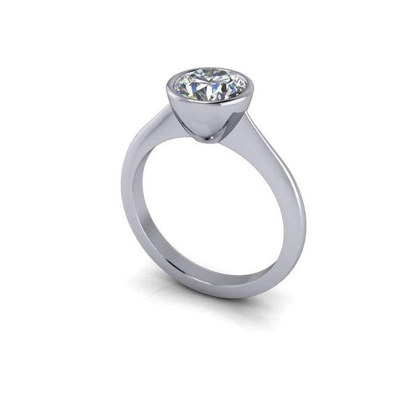1.50 CTW Bezel Set Forever One Moissanite Solitaire Engagement Ring-Bel Viaggio Designs