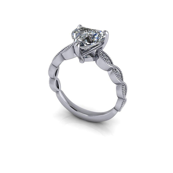 1.86 CTW Heart Shape Forever One Moissanite Engagement Ring-Bel Viaggio