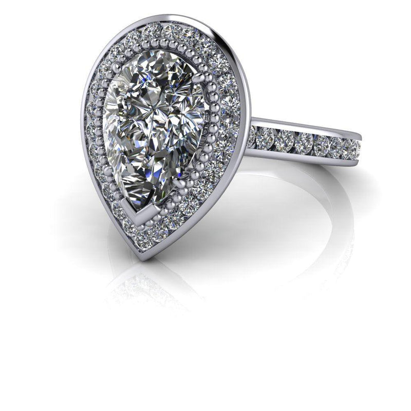 4.32 ctw Pear Colorless Moissanite & Diamond Halo Engagement Ring-Bel Viaggio Designs