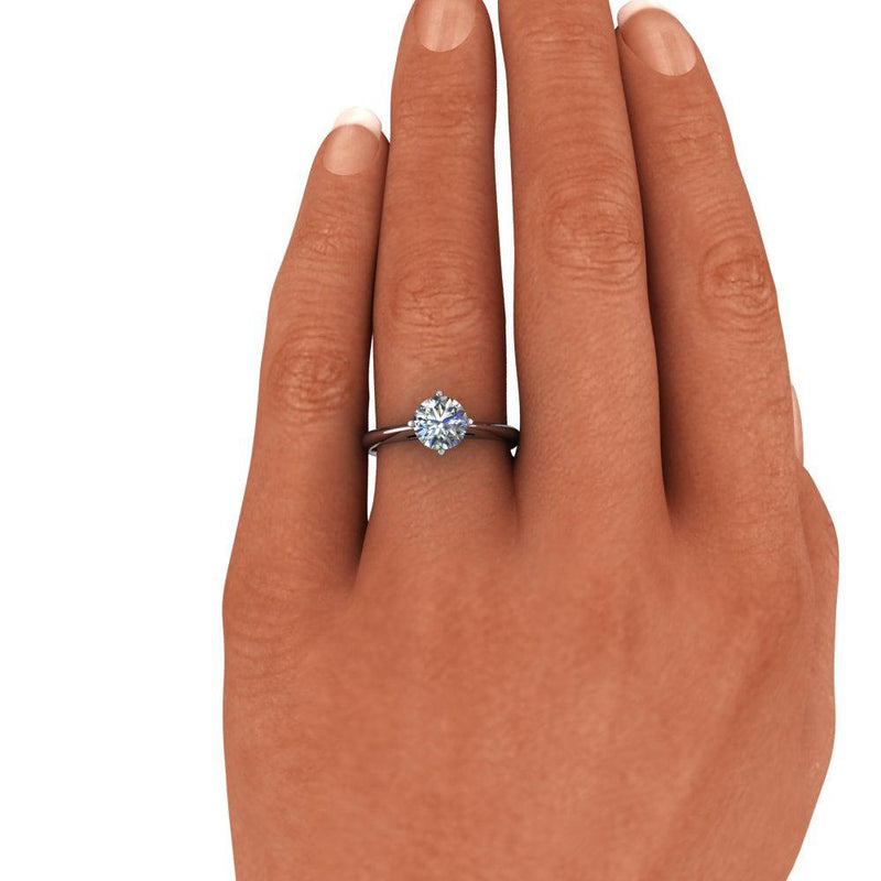 1.00 CTW Round Solitaire Colorless Moissanite Engagement Ring-Bel Viaggio Designs