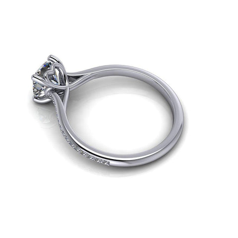 1.20 CTW Colorless Moissanite and Diamond Solitaire Engagement Ring-Bel Viaggio Designs