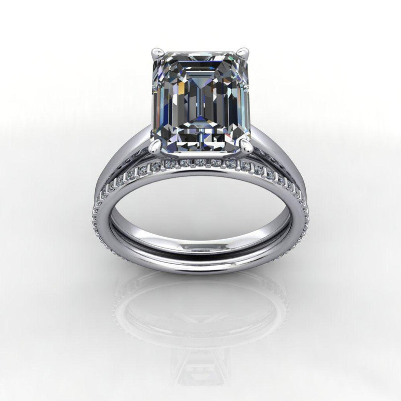 Bridal Set, Emerald Cut Moissanite Solitaire Cathedral Ring 4.06ctw-Bel Viaggio Designs