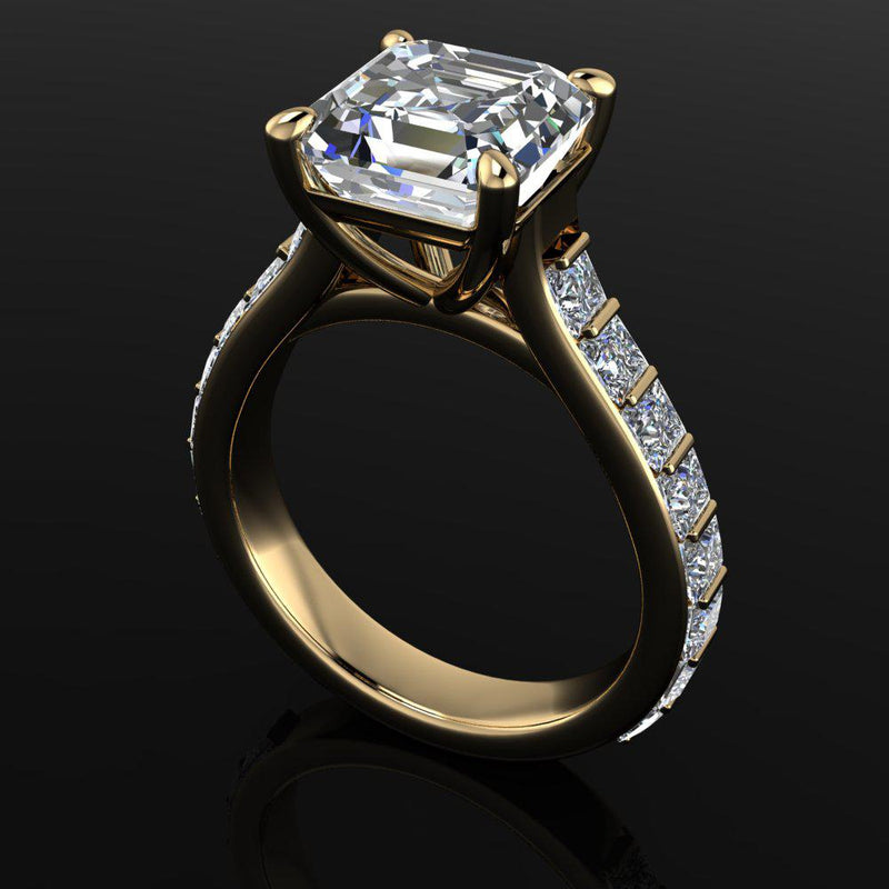 Asscher & Princess Cut Moissanite Cathedral Engagement Ring-Bel Viaggio Designs