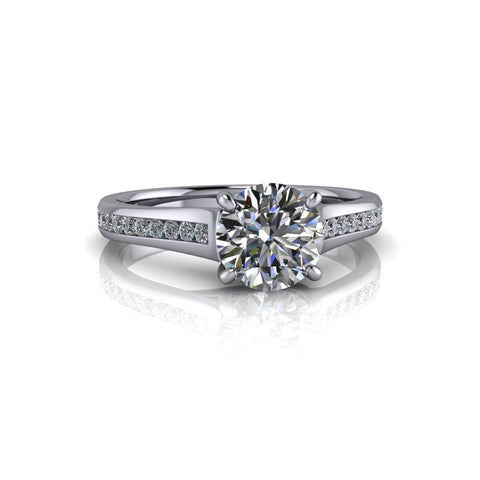 1.33 CTW Round Charles & Colvard Moissanite Cathedral, Diamond Engagement Ring-Bel Viaggio Designs