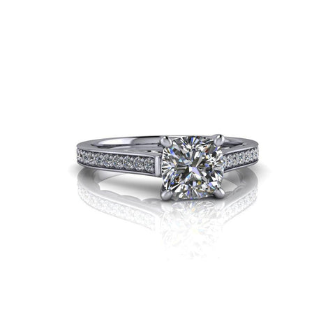 1.30 CTW Cushion Cut Colorless Moissanite & Diamond Engagement Ring-Bel Viaggio Designs