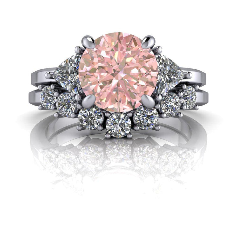 2.06 ctw Morganite & Diamond Trillions Engagement Ring/Bridal Set-Bel Viaggio Designs