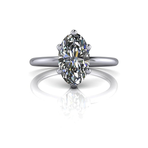 Forever One Elongated Oval Moissanite Engagement Ring 2.30 CTW-Bel Viaggio Designs