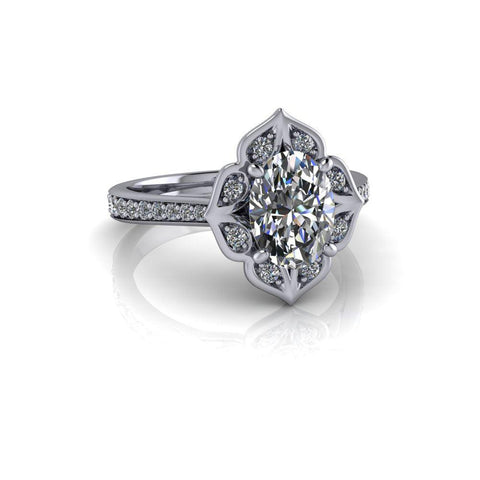 1.85 CTW Oval Charles & Colvard Moissanite and Diamond Engagement Ring-Bel Viaggio Designs