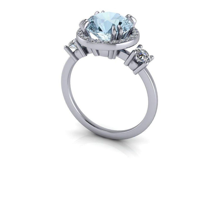 2.77 CTW Aquamarine & Diamond Engagement Ring-Bel Viaggio Designs