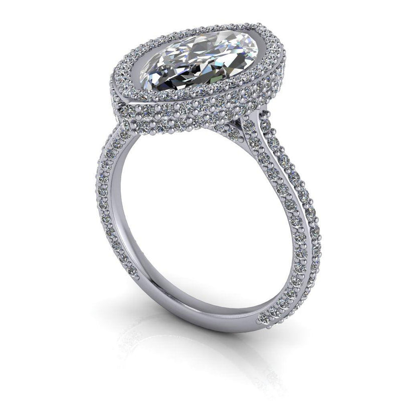 Marquise Moissanite Halo Engagement Ring Bezel Set-Bel Viaggio Designs